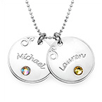 Sterling Silver Engraved Necklace with Birthstone