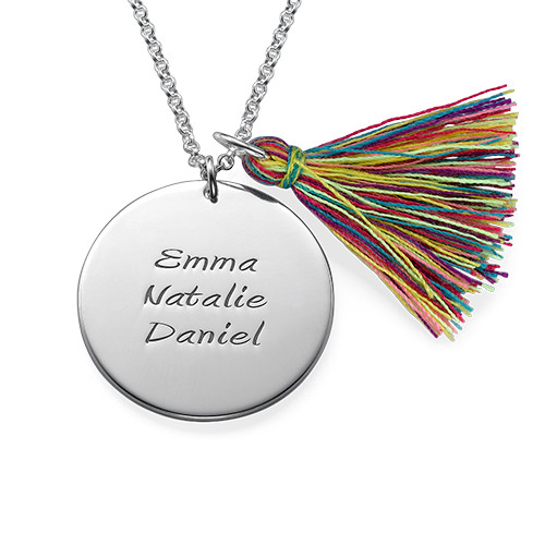 Sterling Silver Engraved Disc and Tassel Necklace