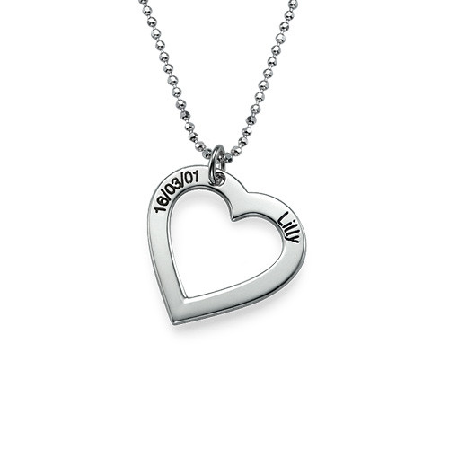 Sterling Silver Engraved Heart Necklace
