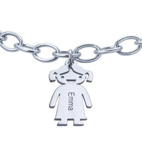 Sterling Silver Engraved Kids Bracelet - 1