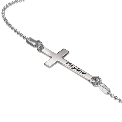 Personalised Silver Sideways Cross Necklace
