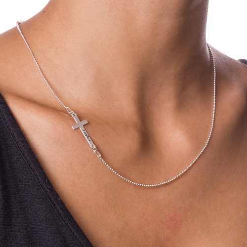 Personalised Silver Sideways Cross Necklace - 1