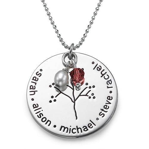 Silver Personalised Family Tree Necklace