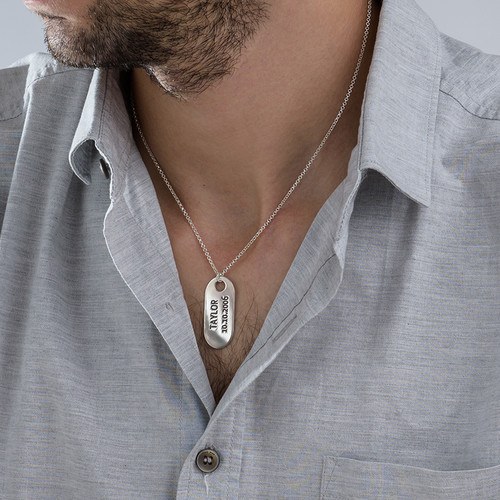Sterling Silver ID Tag Necklace - 2