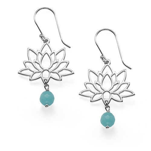 Sterling Silver Lotus Flower Earrings - 1