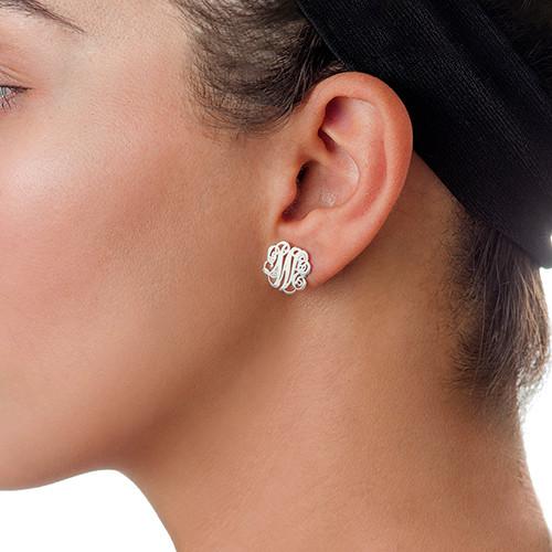 Sterling Silver Monogram Stud Earrings - 1