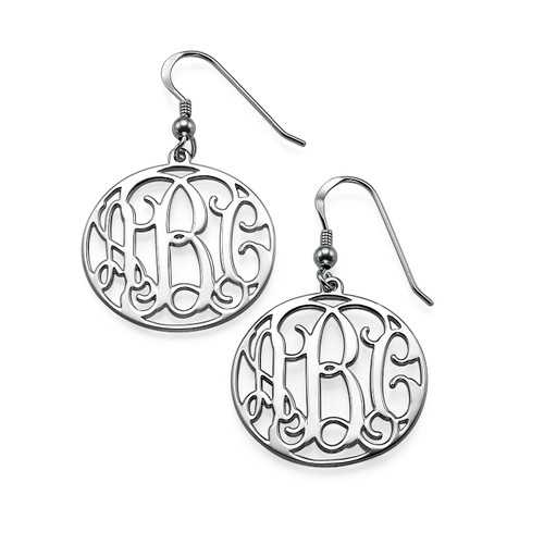 Sterling Silver Monogrammed Earrings
