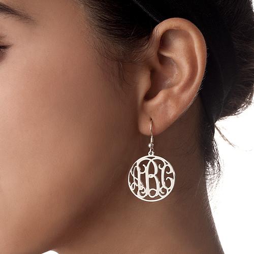 Sterling Silver Monogrammed Earrings - 1