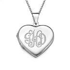 Sterling Silver Monogrammed Heart Locket Necklace