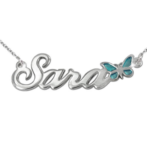 Sterling Silver Name Necklace with Colour Charm - 1