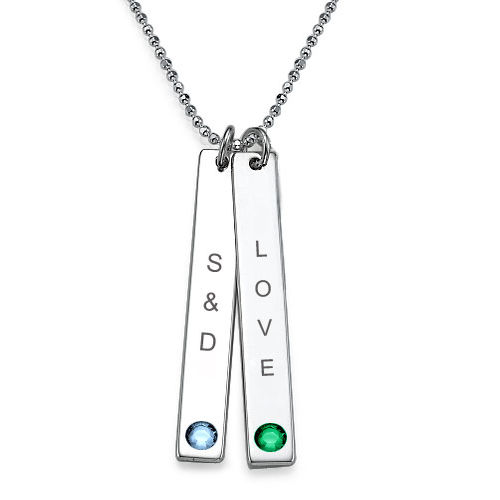 Sterling Silver Bar Necklace with Swarovski Stone - 1