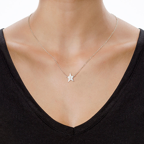 Sterling Silver Star Initial Necklace - 1