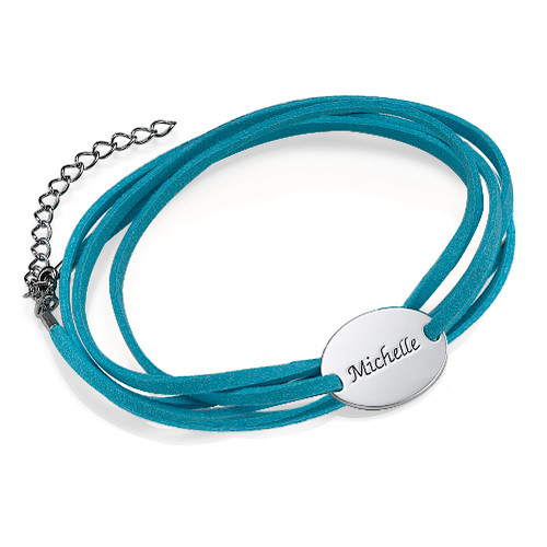 Suede Wrap Bracelet with Personalised Charm