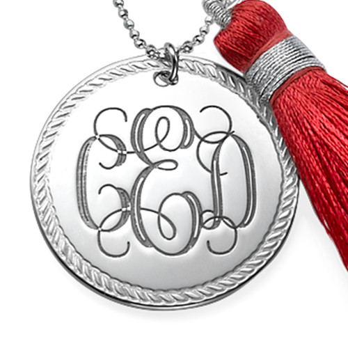 Tassel Jewellery - Silver Engraved Monogram Necklace - 1