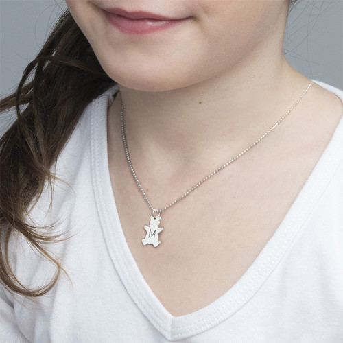 Teddy Bear Necklace with Initial in Silver - 1