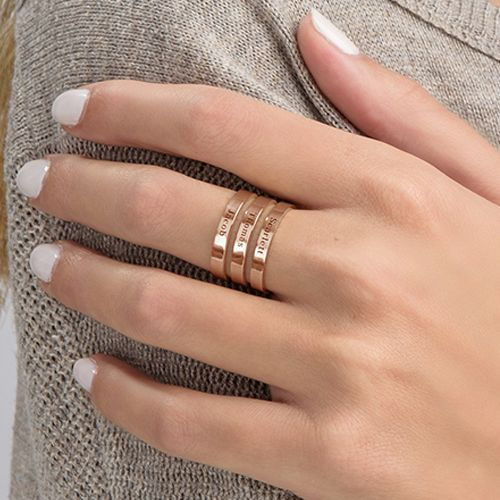 Three Names Ring in Rose Gold Plating - 4