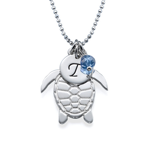 Turtle Necklace with Initial and Birthstone - 1