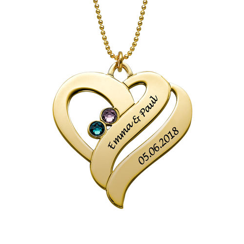 Two Hearts Forever One Necklace - 10ct Gold - 1