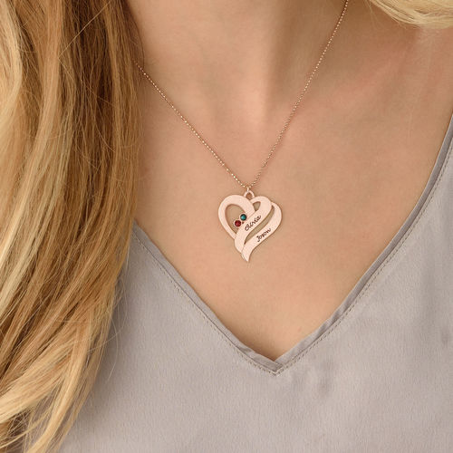 Two Hearts Forever One Necklace with Birthstones - Rose Gold Plated - 4