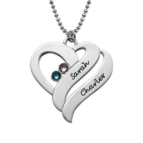 Two Hearts Forever One Necklace with Birthstones