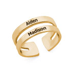 Two Name Ring with Gold Plating
