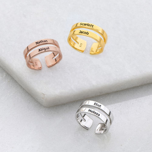 Two names ring in Rose Gold Plating - 2