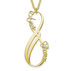 Vertical Infinity Name Necklace with Gold Plating