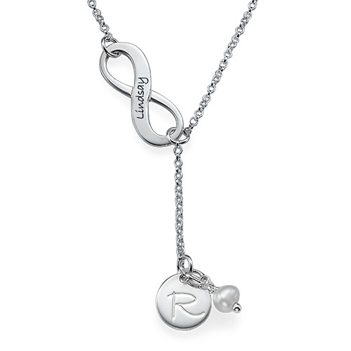 Y Shaped Infinity Necklace Initial & Birthstone