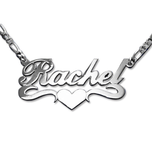 Double Thick Sterling Silver Heart Name Necklace