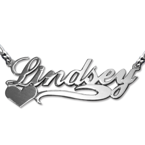 Double Thickness Side Heart Silver Name Necklace