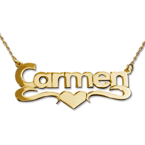 14ct Yellow Gold Print Heart Name Necklace