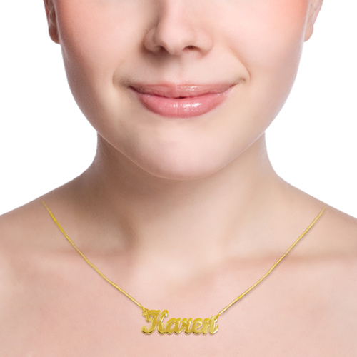 Double Thickness 14ct Gold Script Name Necklace - 1
