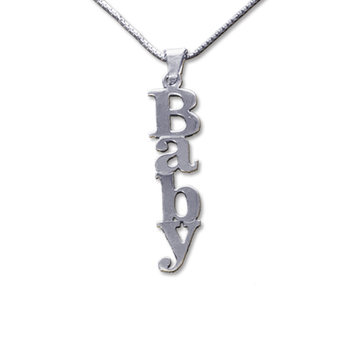 Vertical Design 14ct White Gold Name Necklace