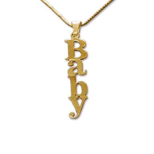 Vertical 18ct Gold-Plated Silver Name Necklace