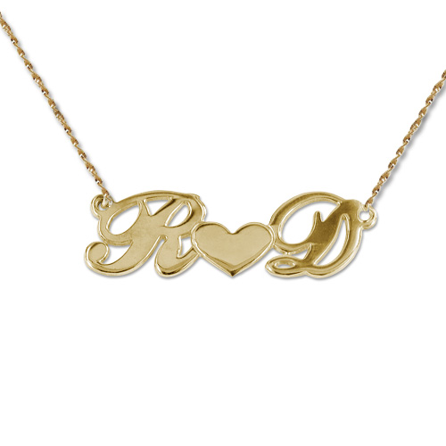 Personalised 14ct Gold Couples Heart Necklace