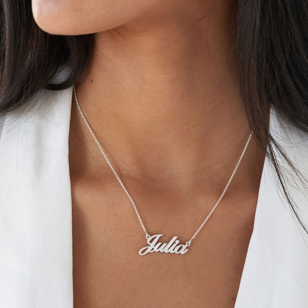 Small Personalised Classic Name Necklace in Silver - 2