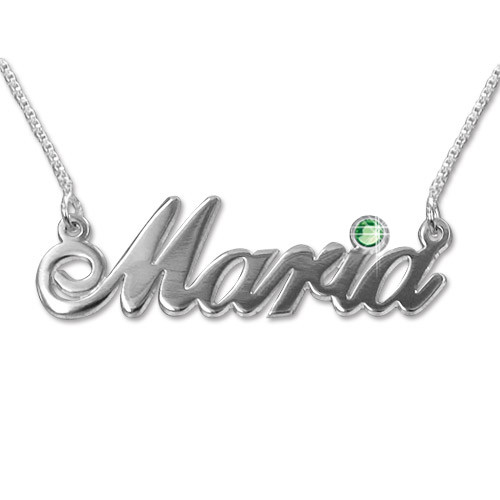 14ct white Gold and Swarovski Crystal Name Necklace