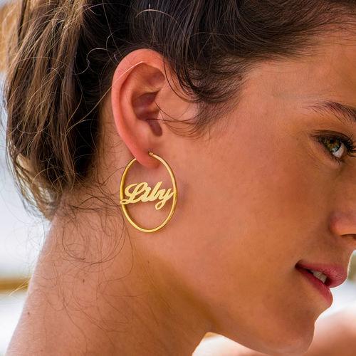 18ct Gold Plated Silver Hoop Name Earrings - 1