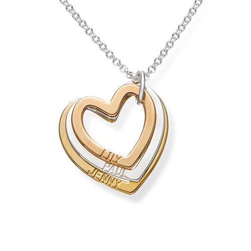 Multi-Tone Triple Heart Necklace