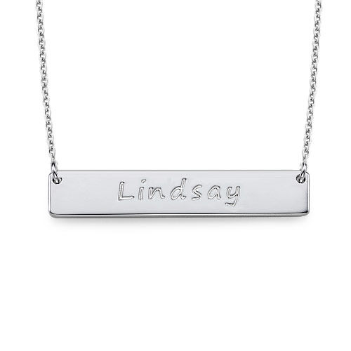 Sterling Silver Bar Nameplate Necklace
