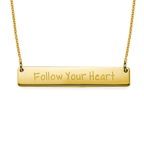 Follow Your Heart Inspirational Bar Necklace GP