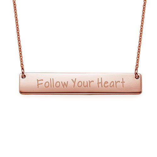 Follow Your Heart Inspirational Bar Necklace RGP