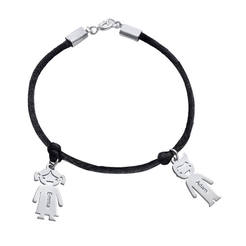 Silver Mum Bracelet with Engraved Kids Charms