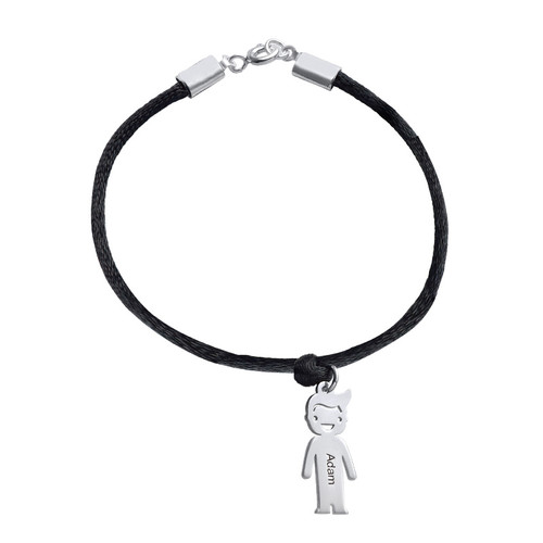 Silver Mum Bracelet with Engraved Kids Charms - 1