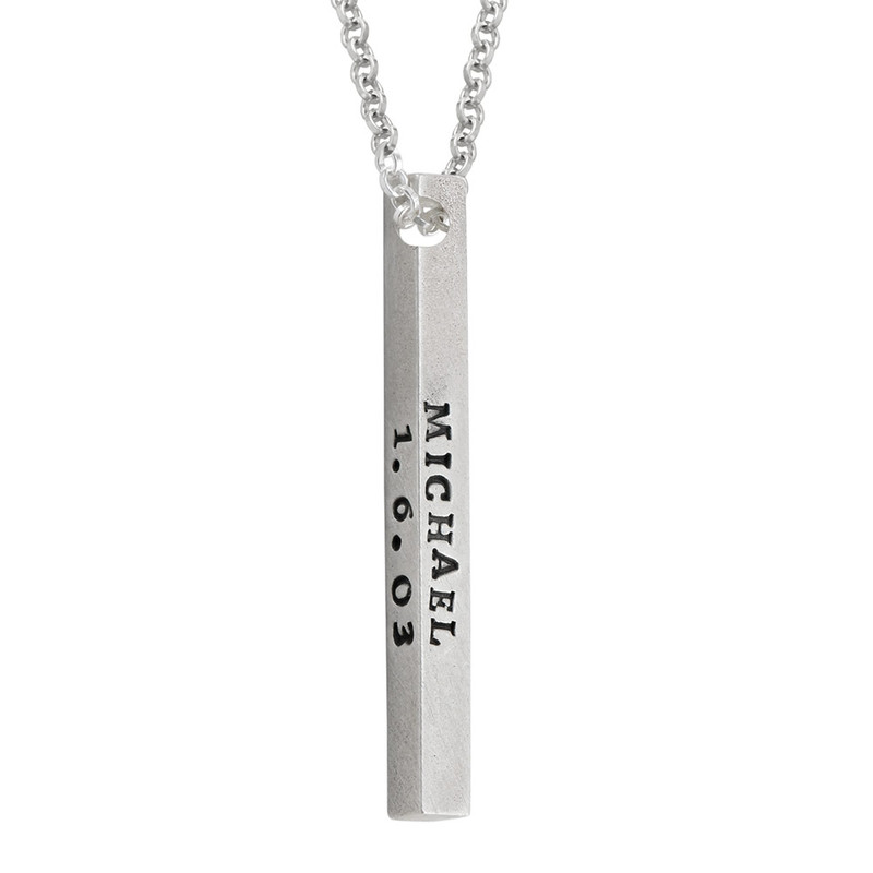 Sterling Silver 4 Sides Engraved Bar Necklace