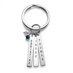 Engraved Keyring with Birthstone Bars