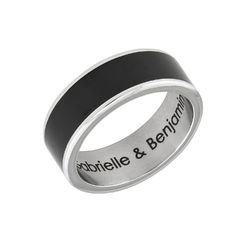 Engraved Stainless Steel Black Men Ring product photo