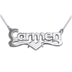 Block Print Silver Heart Name Necklace