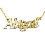 14ct Gold Name Necklace in Double Thickness