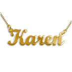 Double Thickness 14ct Gold Script Name Necklace